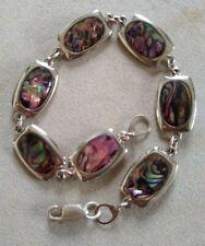 Vintage Panel Link Bracelet Paua Shell Abalone Silver Tone