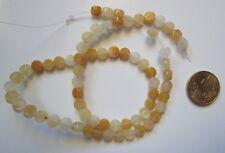 Hilo perlas botón jade amarillo 6 x 3 mm X 67 UNIDADES y 40 cm collar abalorios