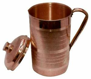 Handmade 1000ml Pure Copper with Lid Pitcher Jug good for Digestive Ayurveda