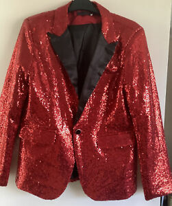 Ladies Red Sequinned Tuxedo Suit 1 Button Party Blazer Jacket Size S Fits 10/12