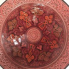 Vtg Moroccan Ceramic Plate Handmade Wall Hanging 17 inches X-large Pottery