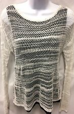 ALICE + OLIVIA Crocheted Layered Lined Black White Pullover Sweater Sz Sm Petite