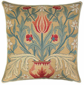 """NEW 18"""" WM MORRIS ARTS & CRAFTS TULIP QUALITY TAPESTRY CUSHION COVER + ZIP, 910"""