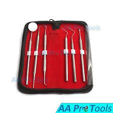 AA Pro: Dental Pick Tool Kit Dentist Professional 6pc Set Leather Case PR-561