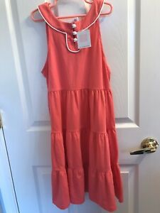 NWT Janie And Jack Pink Cotton Tier Skirt Front White Buttons Dress Size 10