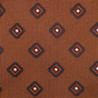 ERMENEGILDO ZEGNA Mens Caramel Brown GEOMETRIC Woven 7-Fold Silk Tie Italy EUC