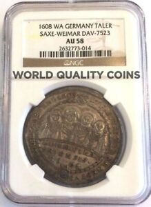 Germany 1608 Silver Thaler  8 Brothers NGC AU58
