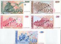 MACEDONIA SET 5 PCS 10 20 50 100 500 DENARS 1993 P 9 - 13 SPECIMEN UNC