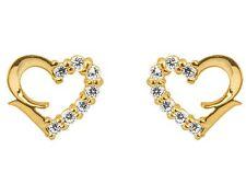 1x Pair of 9ct Yellow Gold Heart CZ Gem Stone Set Ear Studs Earrings + gift bag