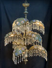 GRAND Antique Art Deco Nouveau Palm Frond Crystal Filigree Chandelier Waterfall