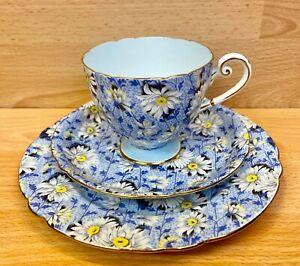 "Shelley Ripon Shape ""Blue Daisy Chintz"" Pattern 13204 Tea Cup Trio."