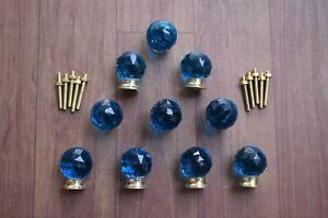 Vintage Victorian Type Brass Base Blue Round Cut Glass Door Knob Pull 10 Pic