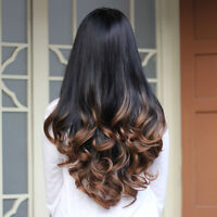 Women's Long Curly Wavy 3/4 Half Wig Hair Black Ombre Cosplay Full Wigs 4 Style