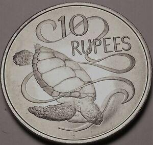 Seychelles 10 Rupees, 1974 Gem UNC ~ Mer Tortue ~1st An