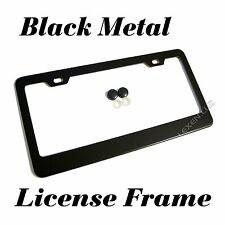 1PC BLACK STAINLESS STEEL METAL LICENSE PLATE FRAME + SCREW CAPS TAG COVER /BF e