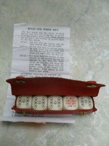 vintage poker dice in leather RNLI case