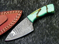 """Handmade Skinning Knife - Full Tang Damascus Steel Blade 5.5"""" - RESIN - WD-9060"""