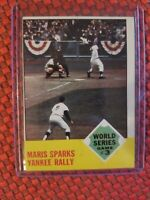 1963 TOPPS #144 ROGER MARIS SPARKS YANKEE RALLY 1962 WORLD SERIES GAME #3