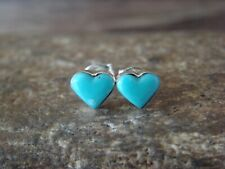 Zuni Indian Sterling Silver Turquoise Heart Post Earrings - Lalio