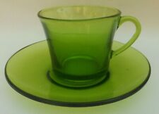 Vintage Retro Duralex Green Glass Coffee Can & Saucer. 15 available.