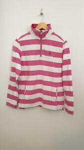 Crew Clothing Size 12 Pink Striped Cotton Sweatshirt 1/4 Zip Jumper Top - Womens