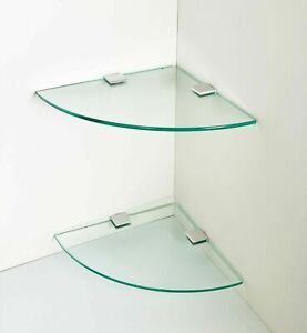 2 x Glass Corner Shelves, Bathroom Shelves, Kitchen shelves, Storage⭐⭐⭐⭐⭐