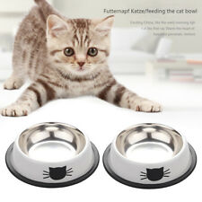 2pcs Cute Cat Claw Feeding Bowls Stainless Steel Puppy Cat Food Water Feeder
