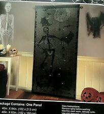 """BLACK LACE WINDOW DOOR PANEL SKELTON CAT SPIDER WEB HALLOWEEN DECOR 40""""x 84"""""""