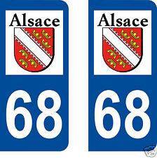 sticker autocollant plaques immatriculation auto Département 68 Alsace Haut Rhin