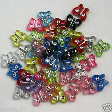 50 Kunststoff Fädelperlen Schmetterling 11mm Strass Effekt Perlen Glitzerperlen