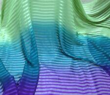 "Green/Teal/Purple W/Satin Strip Chiffon Fabric 44"" Wide 1 Yard"