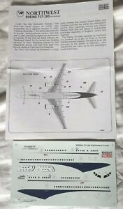 Minicraft Boeing 757-200 Northwest Airlin 1/144 Scale decals & instructions only