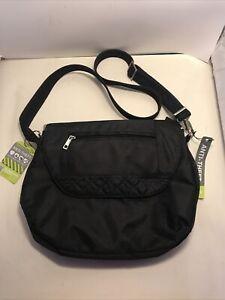 TRAVELON Black Anti-Theft RFID Blocking Pocket Crossbody Travel Bag 42761