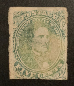 TDStamps: US Confederate States CSA Stamps Scott#1 Used Tear Crease Toned