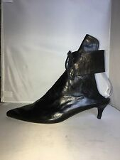 ANN DEMEULEMEESTER 38 8 BLACK LEATHER ANKLE BOOTS ANKLE WRAP LACE UP OPEN HEEL