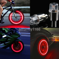 2X Red LED Cycling Bike Bicycle Neon Car Wheel Tire Valve Caps Wheel Lights US