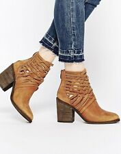 Free People Ankle Booties Carrera Women Brown Leather Strappy Sz 41 US 10 Boots