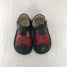Baby Infant Toddler High-quality Black Red Sheep leather Girl shoes Size 5 6 7
