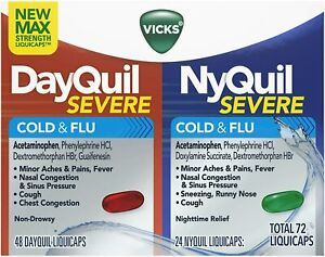 Vicks DayQuil/NyQuil Severe Cold and Flu Relief LiquiCaps Combo Pack, 72 ct.