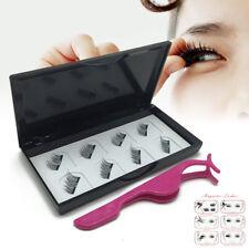 4Pairs/8Pcs Double Magnetic 3D False Eyelashes Long Natural Eye Lashes + Tweezer