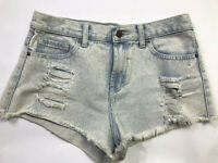 Forever 21 Distressed Denim Cutoff Women's Shorts Size 27 Light Blue