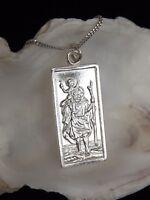 "Sterling Silver 925 St Christopher Pendant Oblong 18"" Necklace Gift Box UK"