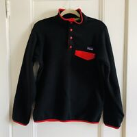 Patagonia Synchilla Snap T Pullover Fleece Jacket Black Red EUC Womens Small