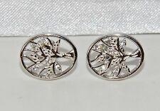 Sterling Silver (925) Stone Set Tree Of Life Oval Stud Earrings