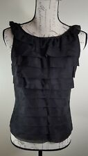 Etcetera womens blouse size 4 100% silk ruffles sleeveless black NWOT