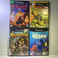 Nintendo Gamecube Incredibles Madagascar Finding Nemo Shrek 2 CIB 4 Game Lot
