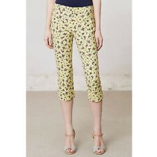 ANTHROPOLOGIE Cartonnier Subtle Stretch Yellow Floral Print Charlie Crop Pants 4