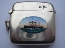 V.RARE 1905 WHITE STAR LINE OCEANIC II SILVER&HAND PAINTED ENAMEL VESTA CASE