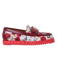 DOLCE & GABBANA Crystals Carnation Brocade Moccasins Flats Shoes Red White 06760