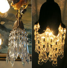 1of7 Vintage Hanging lily Brass bronze Gothic Deco Swag lamp Chandelier crystal
